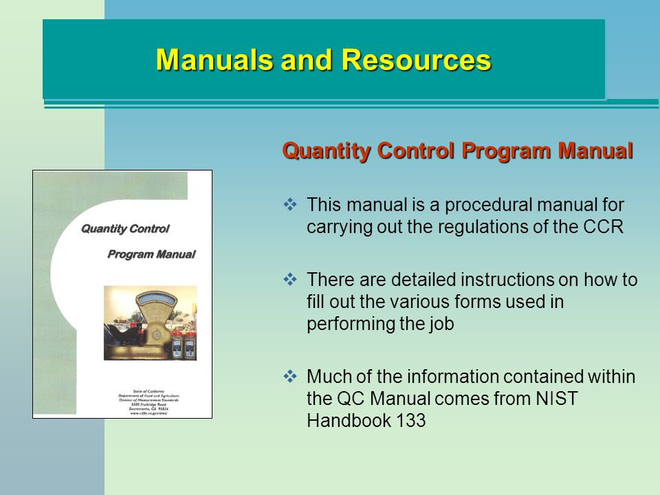 Manuals and Resources Quantity Control Program Manual