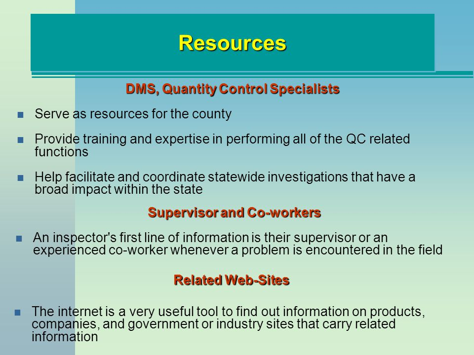 DMS, Quantity Control Specialists Supervisor and Co-workers