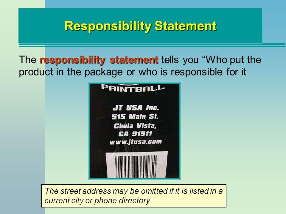 Responsibility Statement