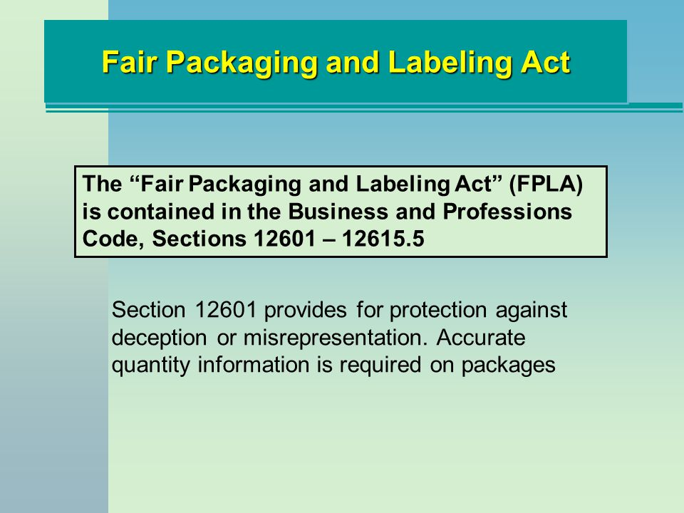 Fair Packaging and Labeling Act