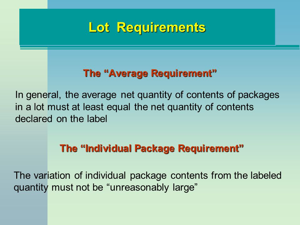 The Average Requirement The Individual Package Requirement