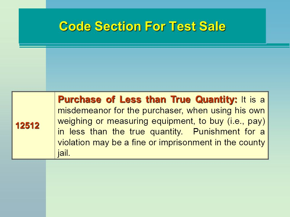 Code Section For Test Sale