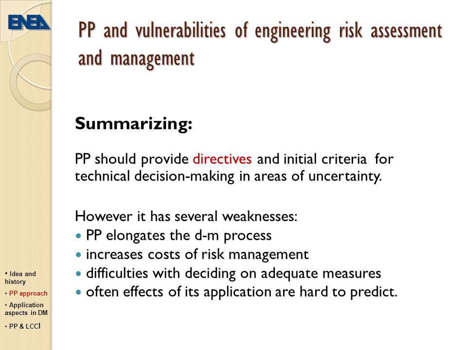 PP and vulnerabilities of engineering risk assessment and management