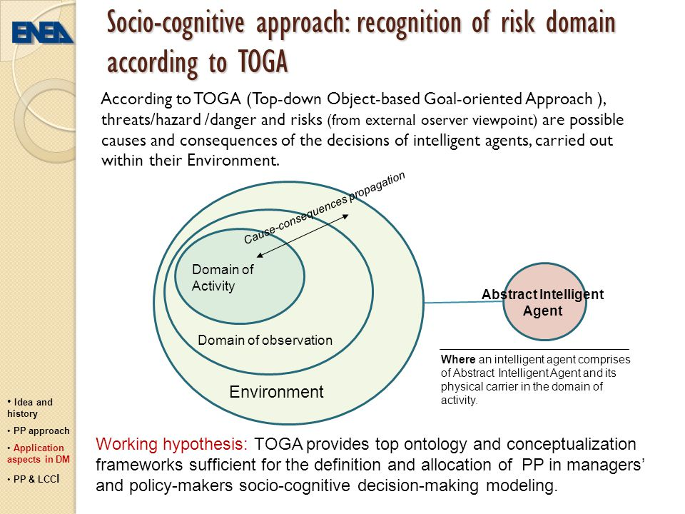 Socio-cognitive approach: recognition of risk domain according to TOGA