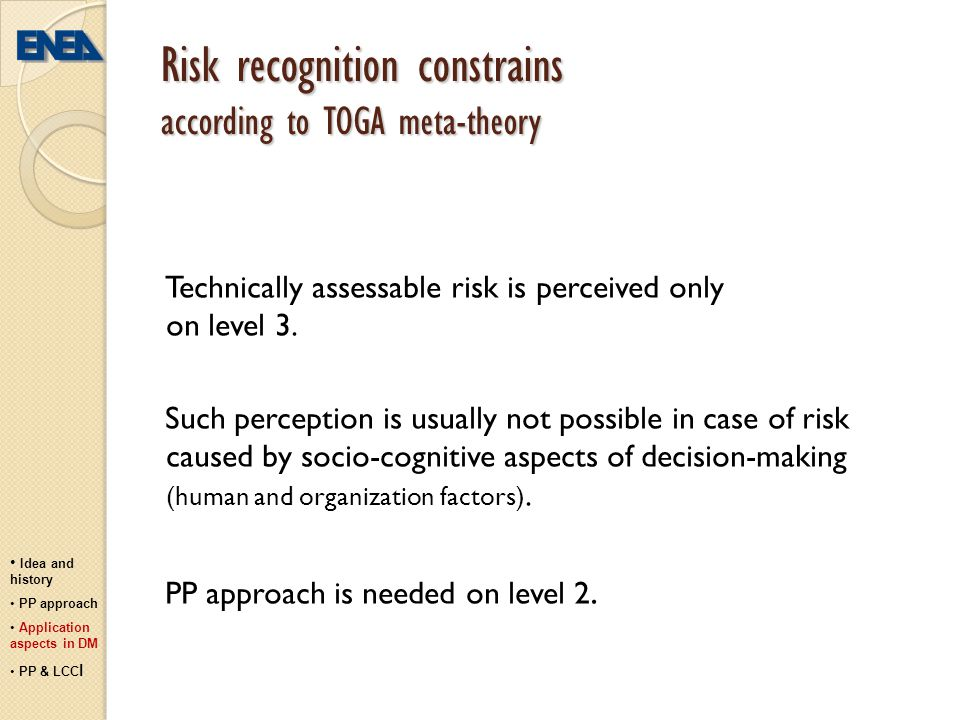 Risk recognition constrains according to TOGA meta-theory