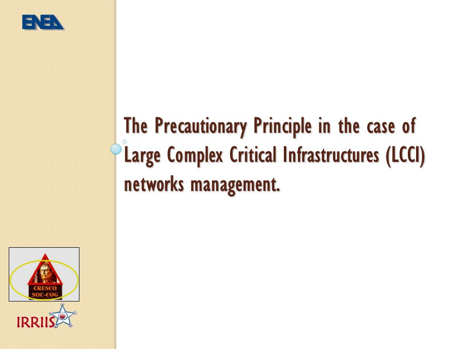 The Precautionary Principle in the case of Large Complex Critical Infrastructures (LCCI) networks management.