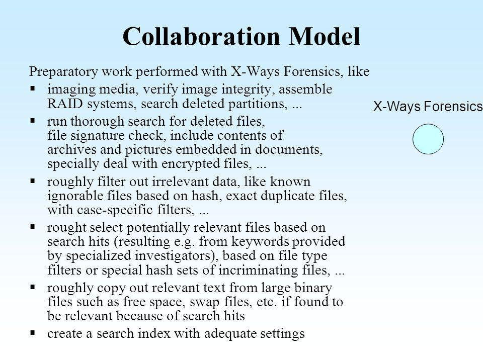 Collaboration Model Preparatory work performed with X-Ways Forensics, like.