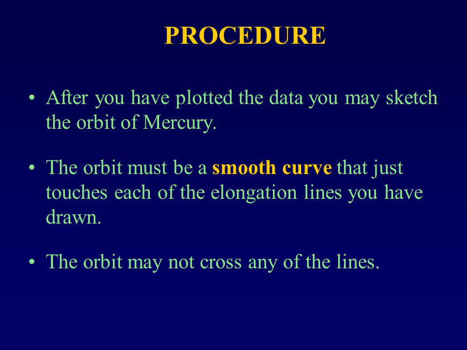 PROCEDURE After you have plotted the data you may sketch the orbit of Mercury.