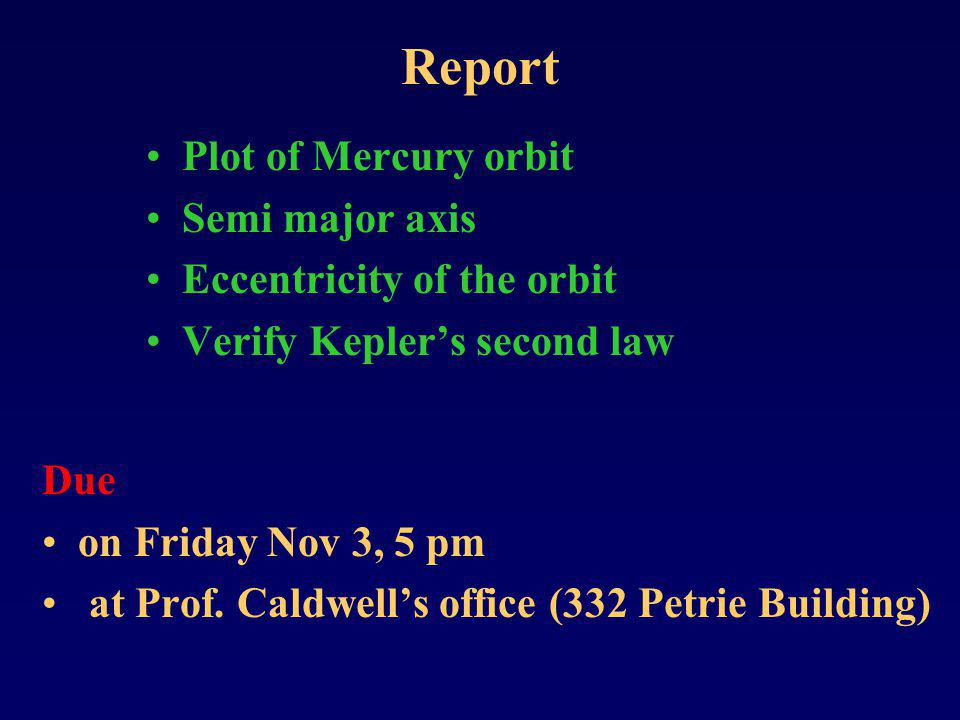 Report Plot of Mercury orbit Semi major axis Eccentricity of the orbit