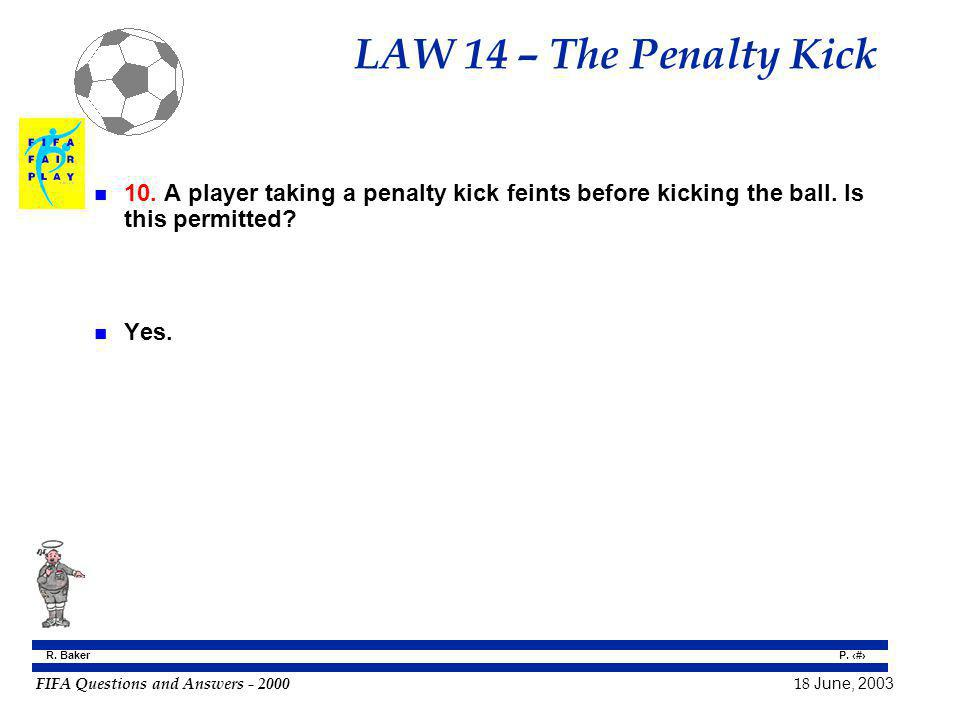 LAW 14 – The Penalty Kick 10. A player taking a penalty kick feints before kicking the ball. Is this permitted