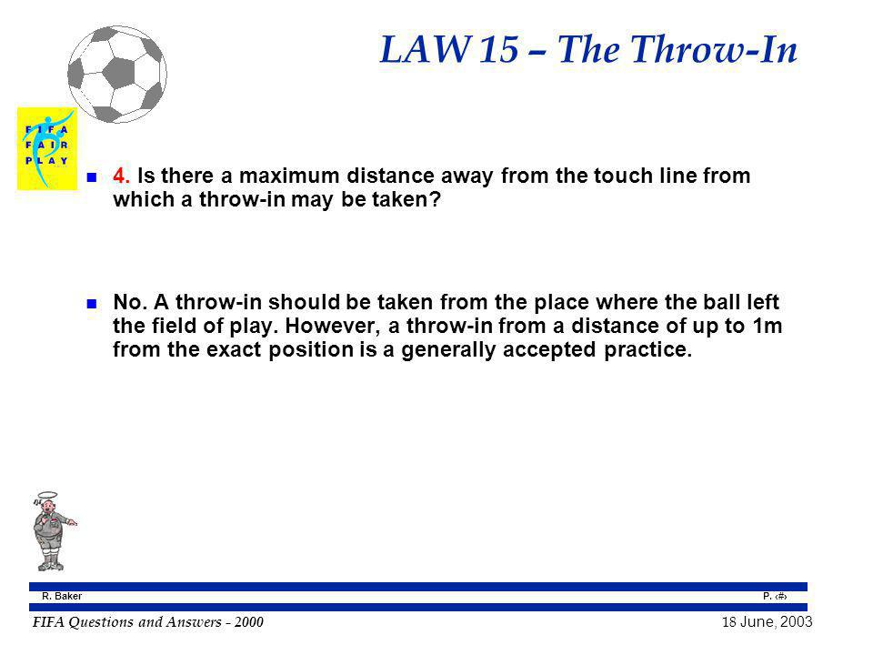 LAW 15 – The Throw-In 4. Is there a maximum distance away from the touch line from which a throw-in may be taken