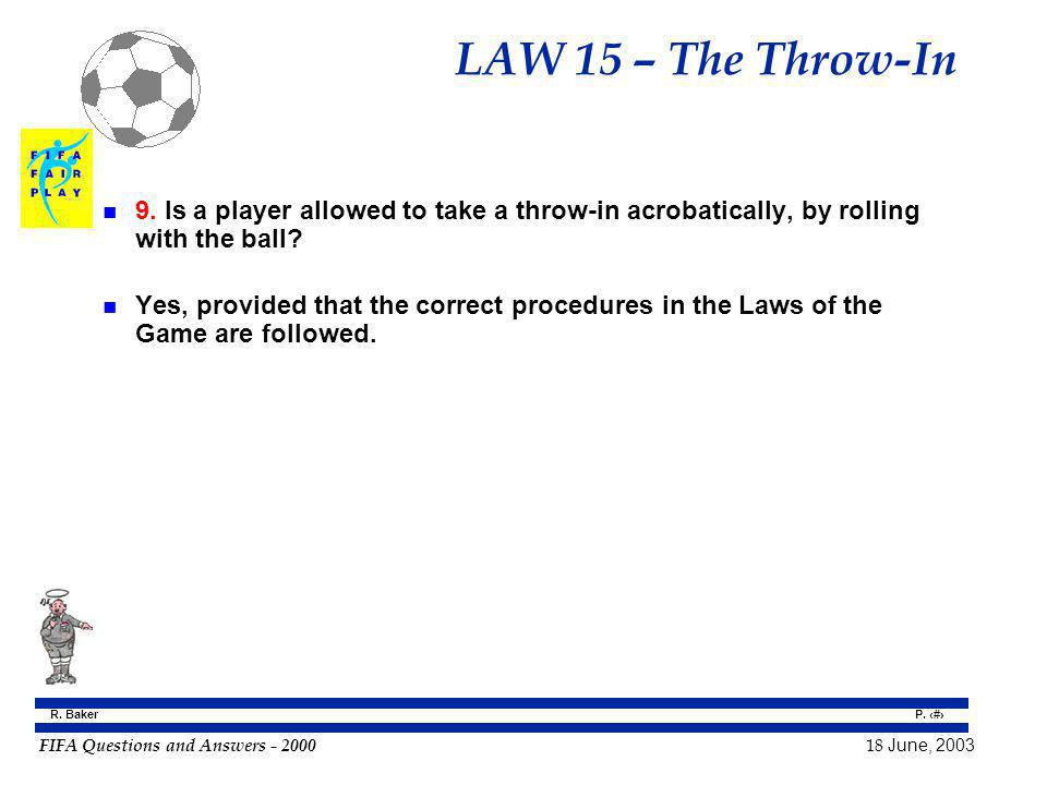 LAW 15 – The Throw-In 9. Is a player allowed to take a throw-in acrobatically, by rolling with the ball