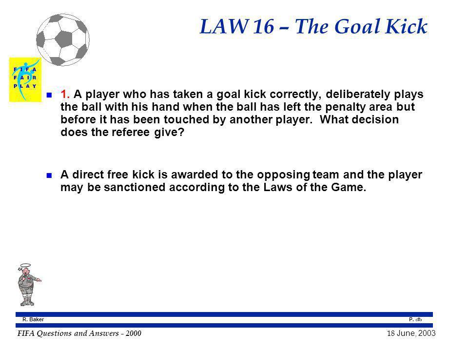 LAW 16 – The Goal Kick
