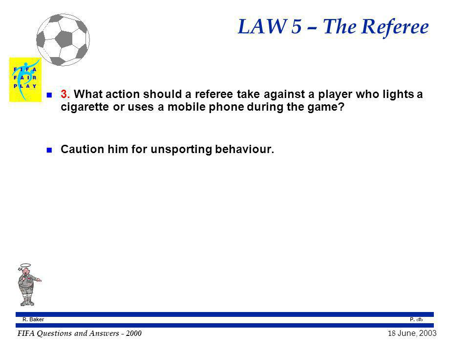 LAW 5 – The Referee 3. What action should a referee take against a player who lights a cigarette or uses a mobile phone during the game