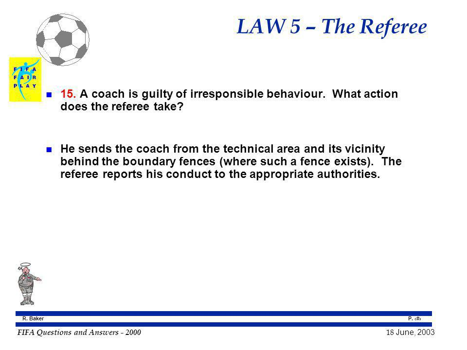 LAW 5 – The Referee 15. A coach is guilty of irresponsible behaviour. What action does the referee take