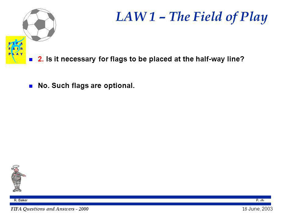 LAW 1 – The Field of Play 2. Is it necessary for flags to be placed at the half-way line.