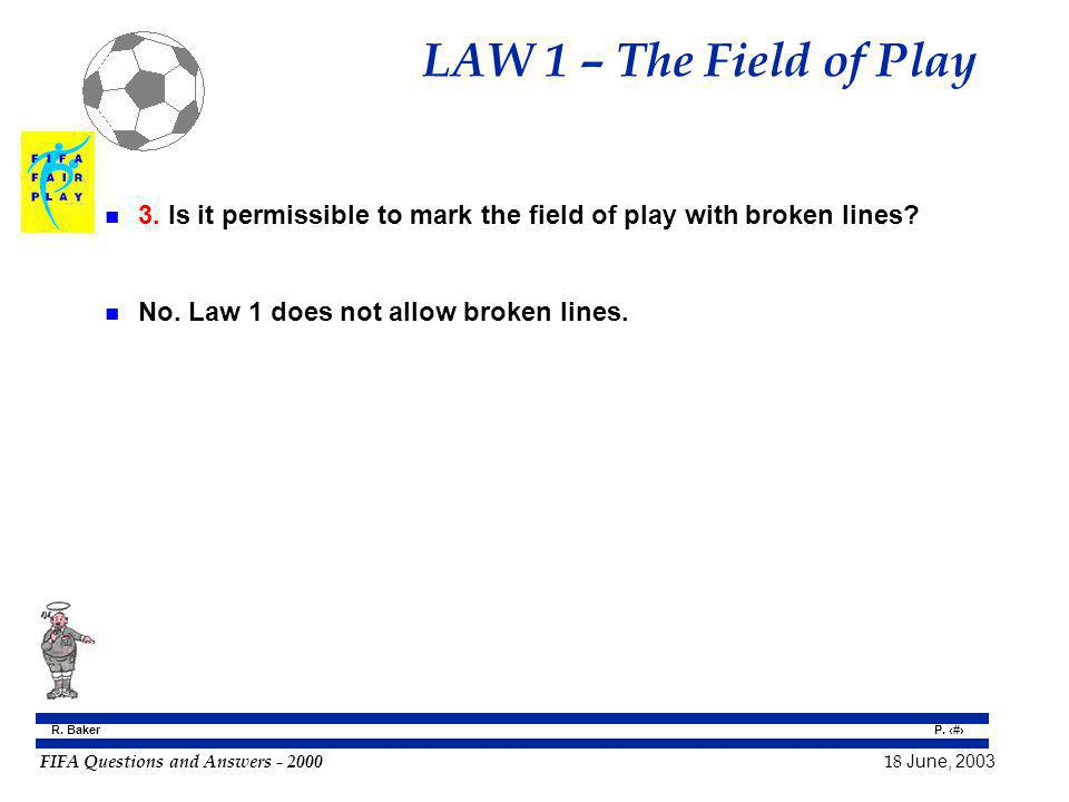 LAW 1 – The Field of Play 3. Is it permissible to mark the field of play with broken lines.