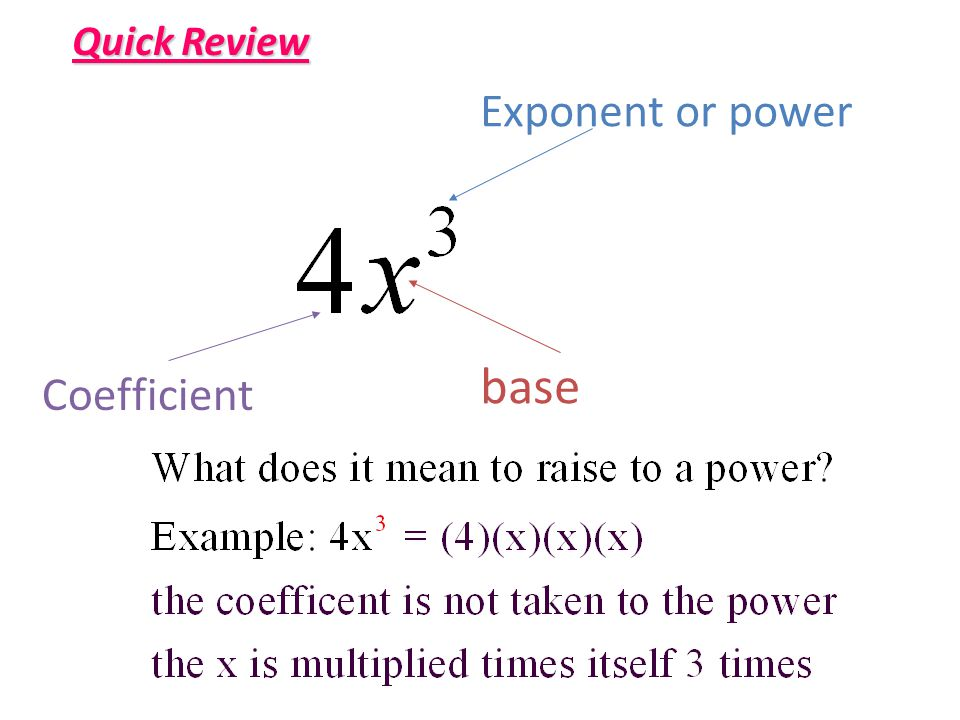 Quick Review Exponent or power base Coefficient
