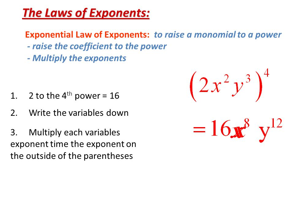 The Laws of Exponents: Exponential Law of Exponents: to raise a monomial to a power. - raise the coefficient to the power.