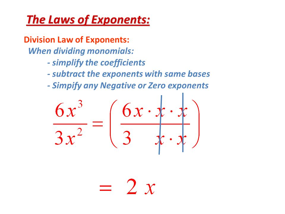 The Laws of Exponents: Division Law of Exponents: