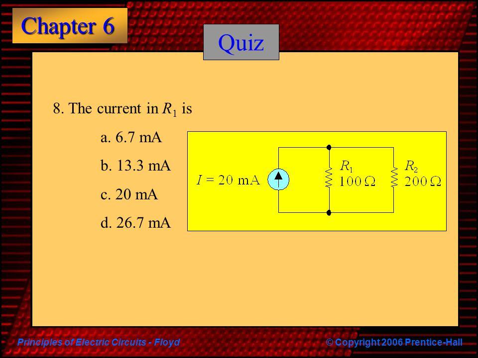 Quiz 8. The current in R1 is a. 6.7 mA b. 13.3 mA c. 20 mA d. 26.7 mA
