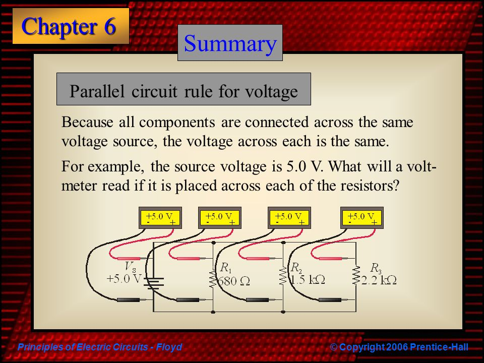 Summary Summary Parallel circuit rule for voltage