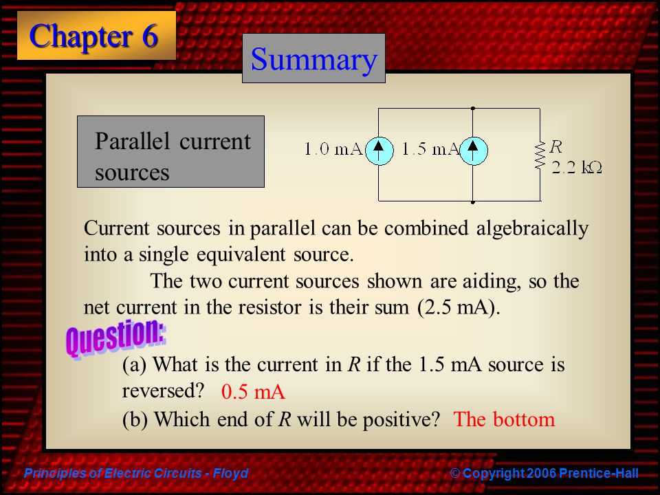 Summary Summary Parallel current sources Question: