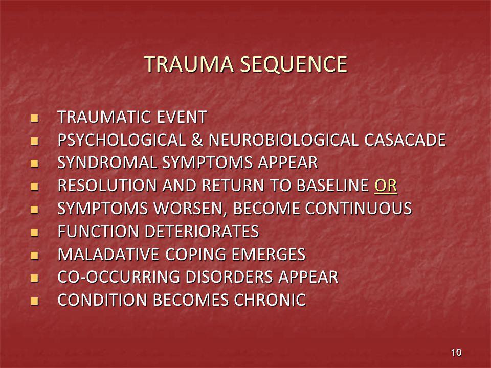 TRAUMA SEQUENCE TRAUMATIC EVENT