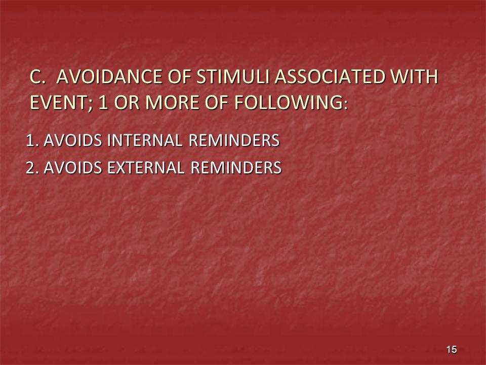 C. AVOIDANCE OF STIMULI ASSOCIATED WITH EVENT; 1 OR MORE OF FOLLOWING: