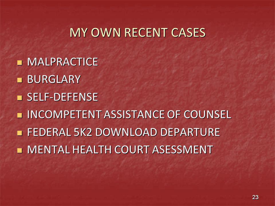 MY OWN RECENT CASES MALPRACTICE BURGLARY SELF-DEFENSE