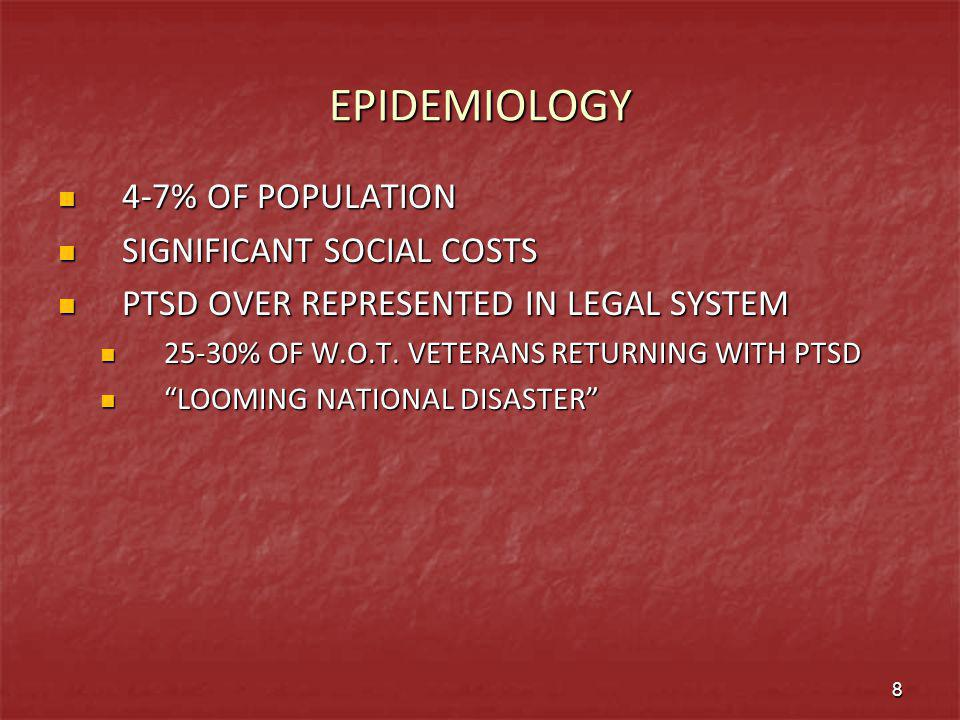 EPIDEMIOLOGY 4-7% OF POPULATION SIGNIFICANT SOCIAL COSTS