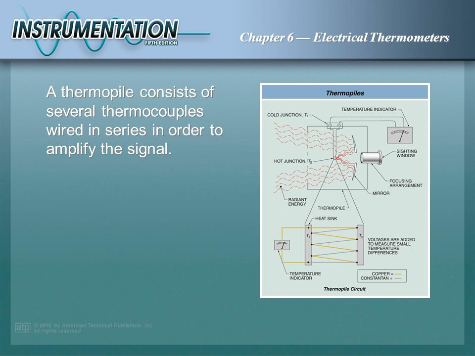 A thermopile consists of several thermocouples wired in series in order to amplify the signal.