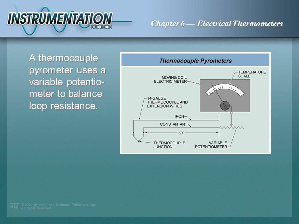 A thermocouple pyrometer uses a variable potentio-meter to balance loop resistance.