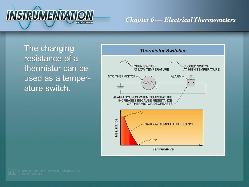 The changing resistance of a thermistor can be used as a temper-ature switch.