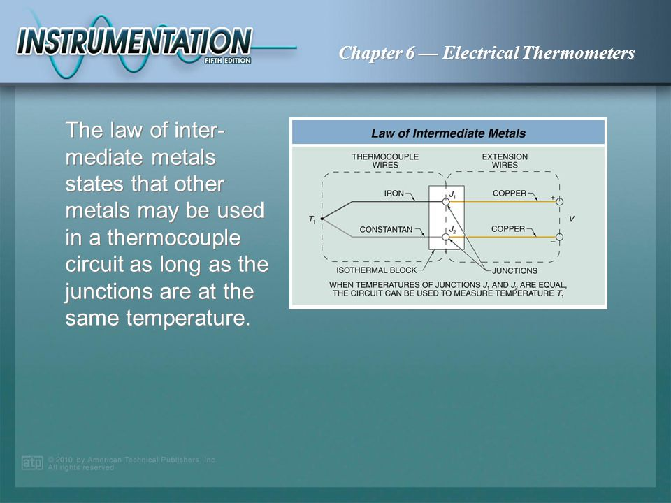 The law of inter-mediate metals states that other metals may be used in a thermocouple circuit as long as the junctions are at the same temperature.