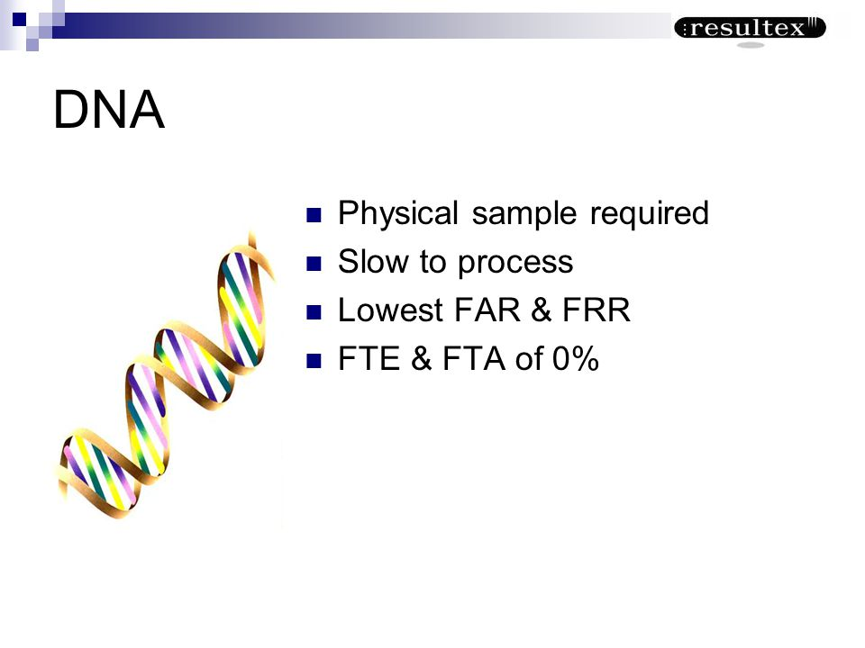 DNA Physical sample required Slow to process Lowest FAR & FRR