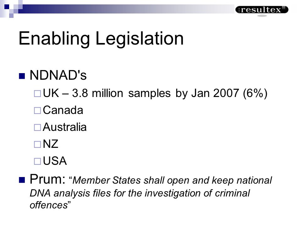 Enabling Legislation NDNAD s