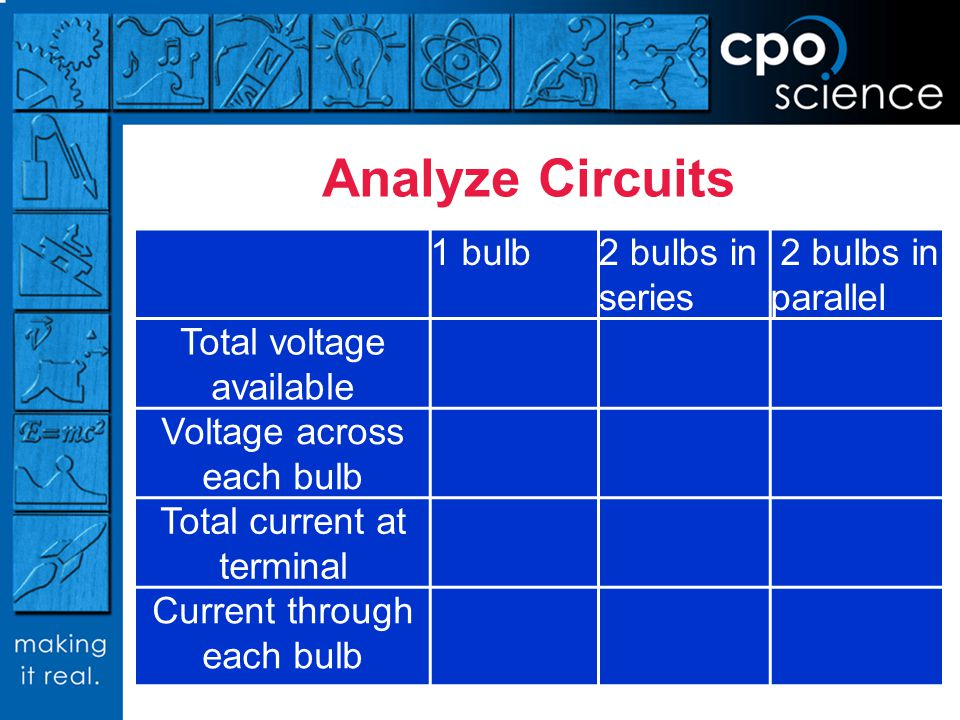 Analyze Circuits 1 bulb 2 bulbs in series 2 bulbs in parallel