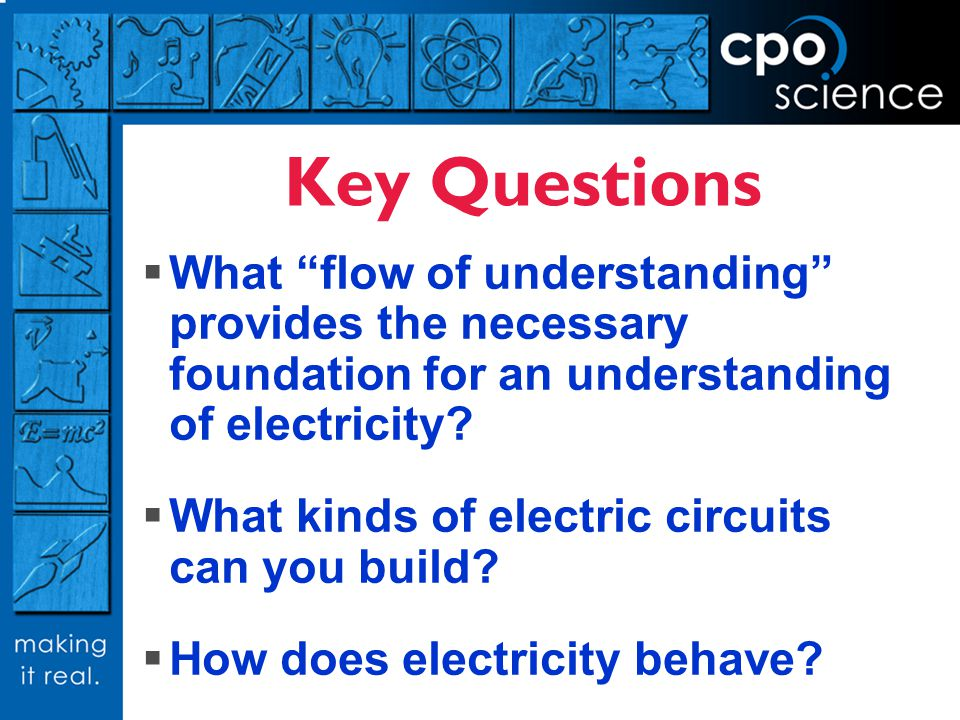 Key Questions What flow of understanding provides the necessary foundation for an understanding of electricity