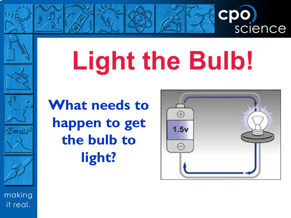 What needs to happen to get the bulb to light