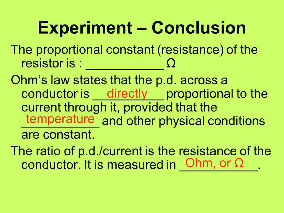 Experiment – Conclusion