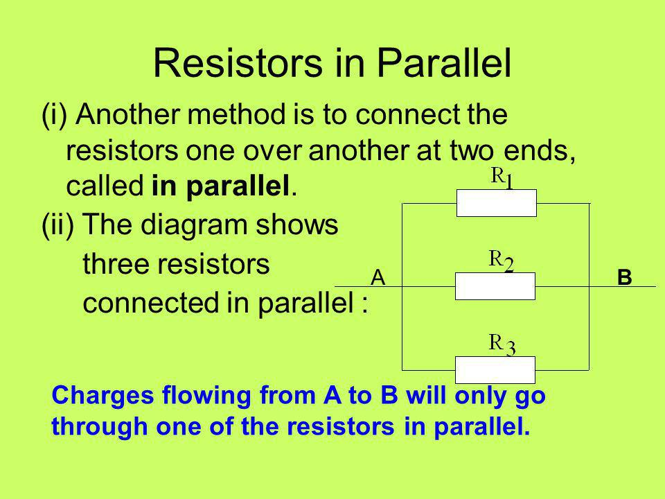 Resistors in Parallel (i) Another method is to connect the resistors one over another at two ends, called in parallel.