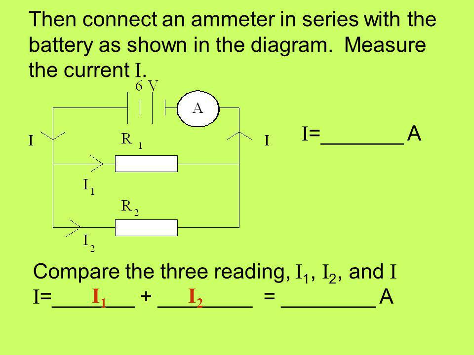 Then connect an ammeter in series with the battery as shown in the diagram. Measure the current I.