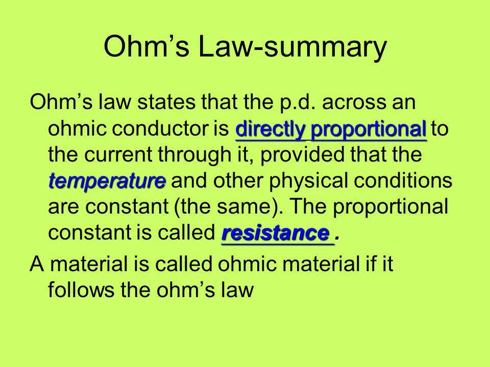 Ohm's Law-summary