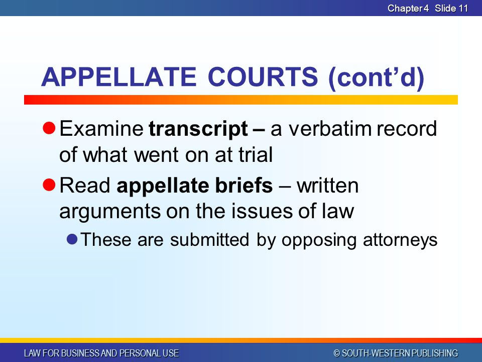 APPELLATE COURTS (cont'd)