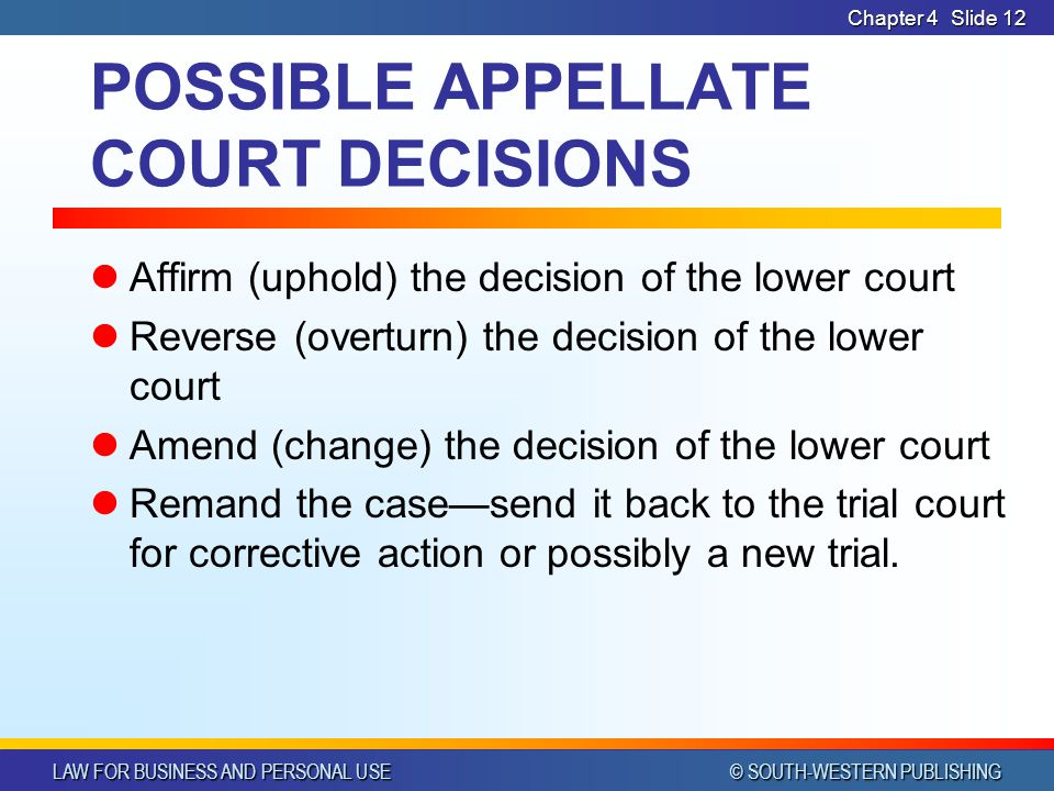POSSIBLE APPELLATE COURT DECISIONS