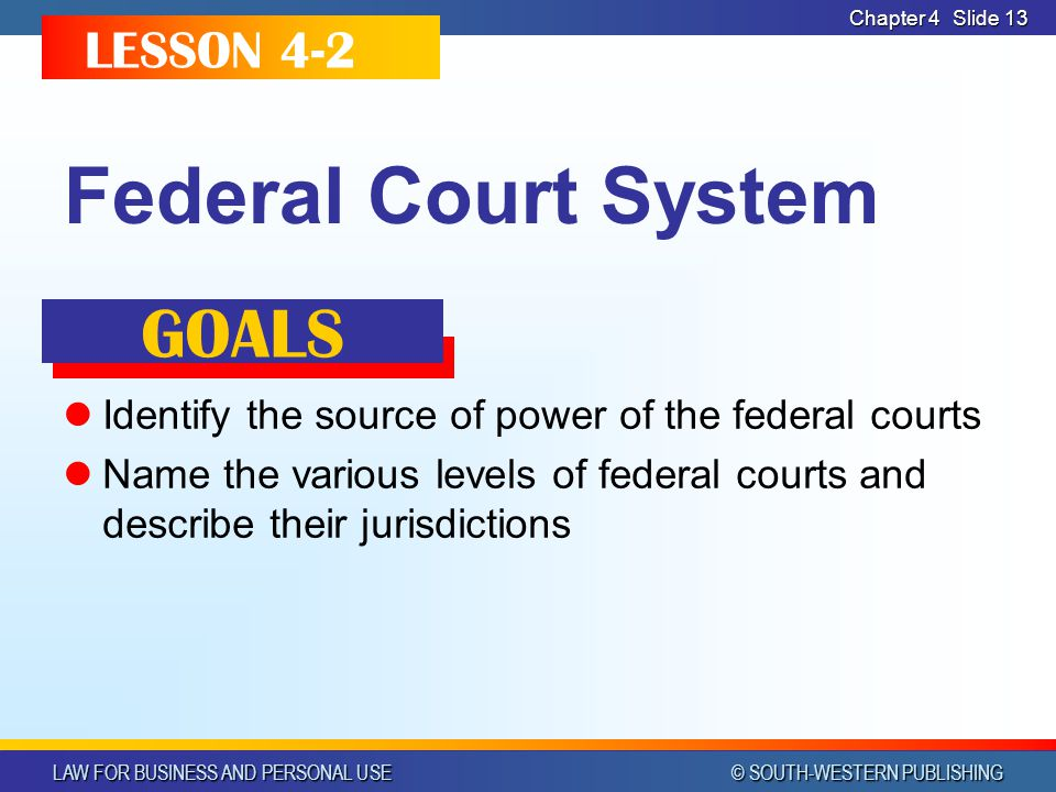 Federal Court System GOALS LESSON 4-2
