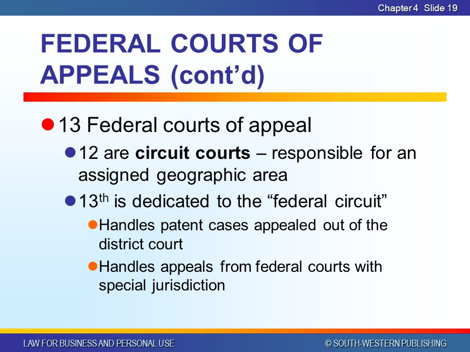 FEDERAL COURTS OF APPEALS (cont'd)