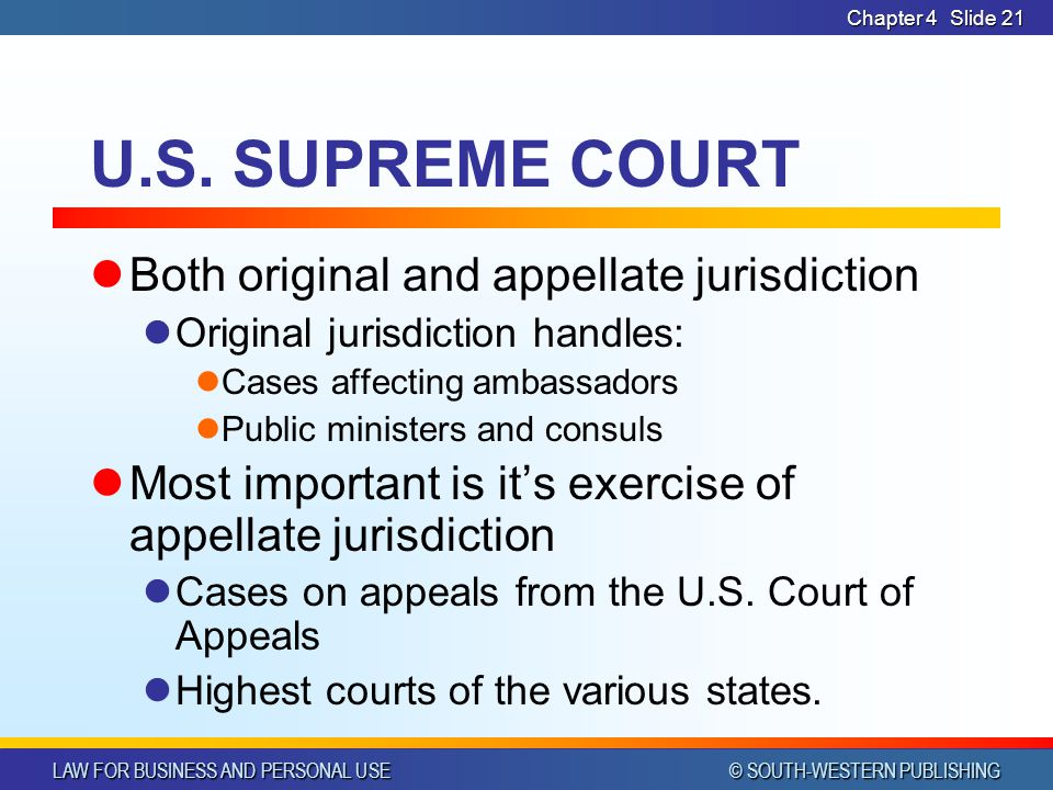 U.S. SUPREME COURT Both original and appellate jurisdiction