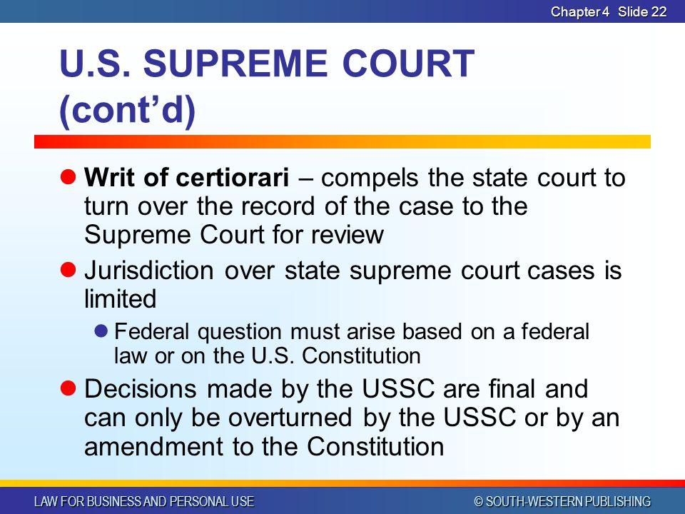 U.S. SUPREME COURT (cont'd)
